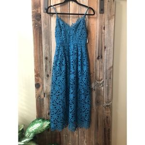 Strapped Turquoise Floral Layered Dress NWT